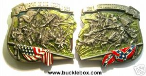 CONFEDERATE ARMY & ARMY OF THE UNION BELT BUCKLES + display stands